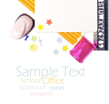Photo of office and student gear over white background - Back to school concept Stock Photo - 17484177