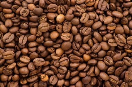 large bean: brown coffee, background texture, close up