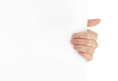 Advertising  Hand holding white empty paper photo
