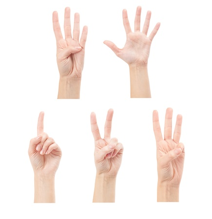 Counting woman hands  1 to 5  isolated on white background photo