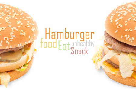 hamburger isolated on white background photo