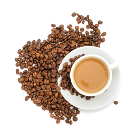 Coffee cup and beans on a white background  Standard-Bild