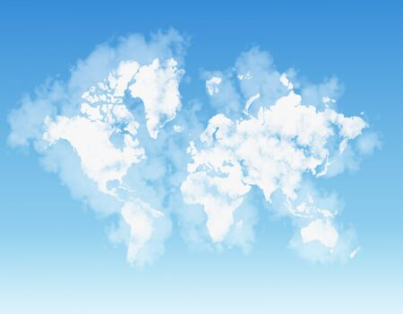 world map shaped by clouds photo