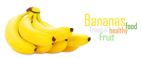 Bunch of bananas isolated on white background + Clipping Path photo