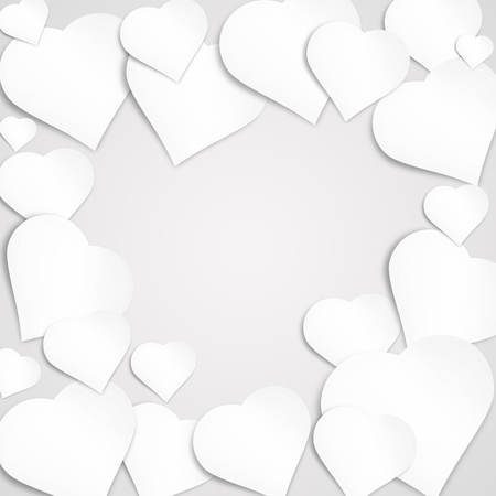 Paper heart banner with drop shadows photo