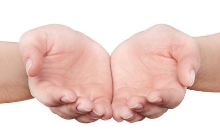 manos abiertas: Manos de la mujer que dan aisladas sobre fondo blanco