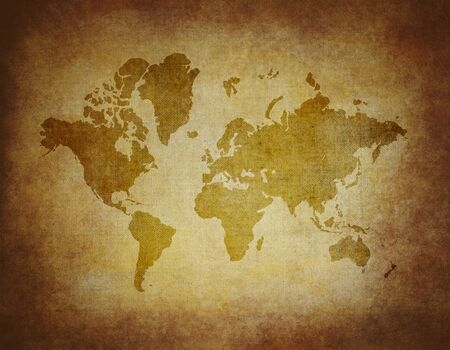 old world: Map world on paper background Style Grunge Stock Photo