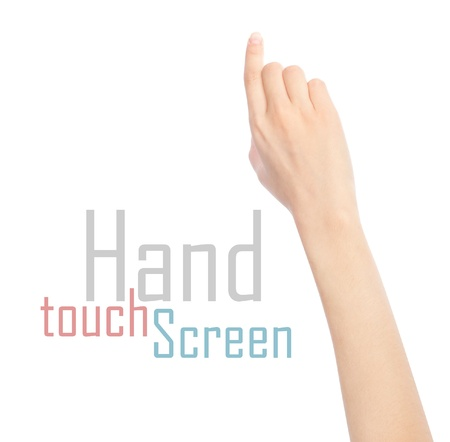 Woman hand touching virtual screen. Isolated on white. photo