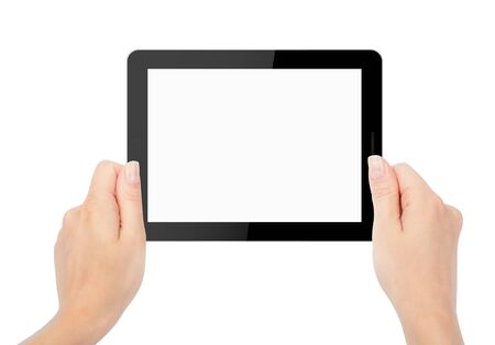tablet computer isolated in a hand on the white backgrounds.  photo