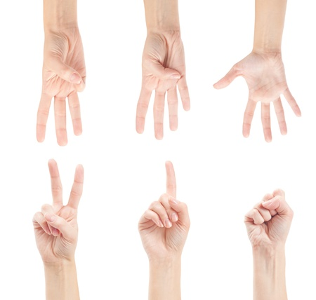 Counting woman hands (0 to 5) isolated on white background photo