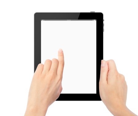 female hands holding a tablet touch computer gadget with isolated screen photo