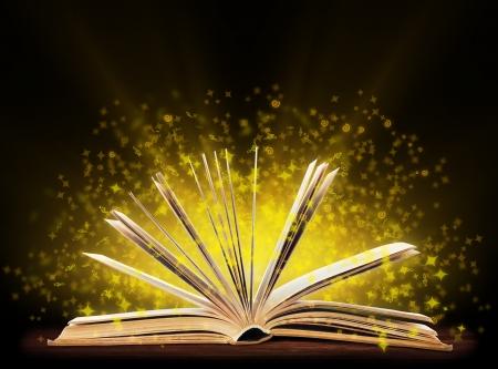 Boek. Geopend met speciale licht boek. Onderwijs