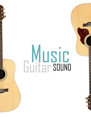 Acoustic guitar isolated over white background photo