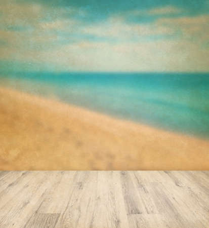 Vintage background of tropical sea with wood floor photo
