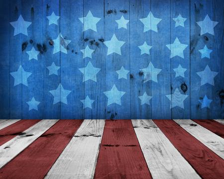 米国スタイルの背景 - 空の木製のテーブルの表示モンタージュ