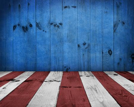 USA styl pozadí - prázdné dřevěné stůl pro zobrazení montáží