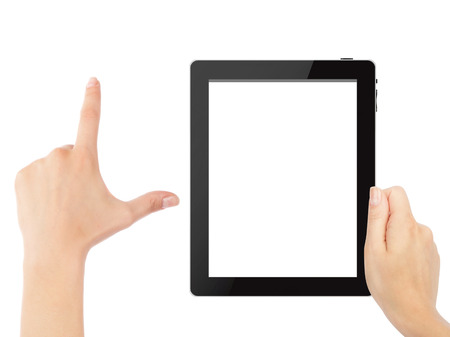android tablet: Hand holding tablet pc with touching hand. High quality and very detailed realistic illustration of android tablet pc. Add clipping path for touching hand. Isolated on white. Stock Photo
