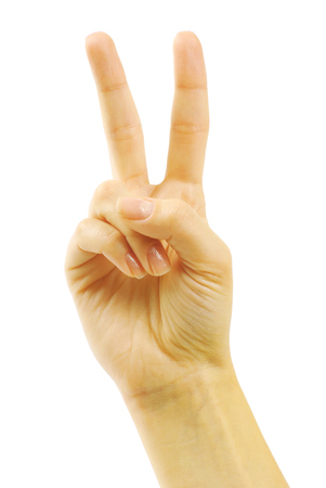 auction win: Hand with two fingers up in the peace or victory symbol. Also the sign for the letter V in sign language. Isolated on white.