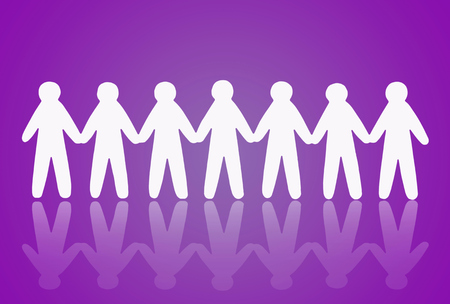shaddow: team of paper people on violet background Stock Photo