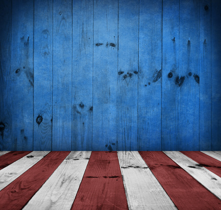 patriotic background: USA style background - empty wooden table for display montages