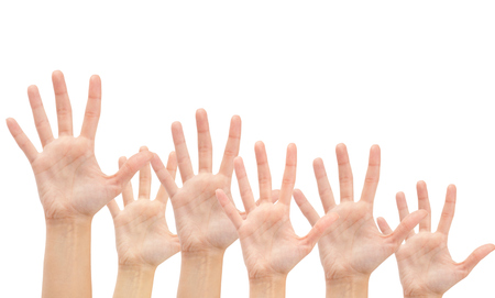 Group of Hands in the air isolated on white background photo