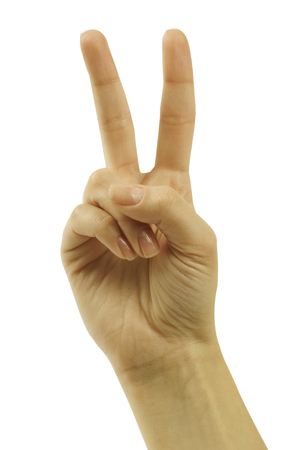 winning bid: Hand with two fingers up in the peace or victory symbol. Also the sign for the letter V in sign language. Isolated on white.