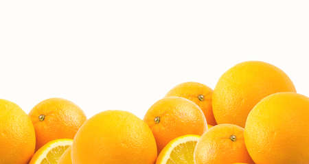 two and a half: Two and half oranges isolated on white background Stock Photo