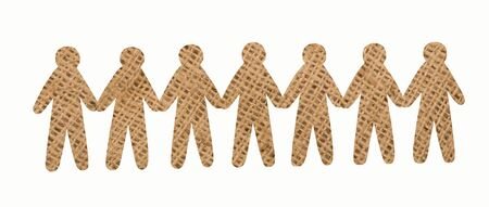 team of burlap people on white background
