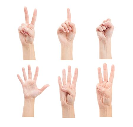 5 0: Counting woman hands (0 to 5) isolated on white background Stock Photo