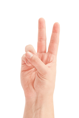 victory symbol: Hand with two fingers up in the peace or victory symbol. Also the sign for the letter V in sign language. Isolated on white.