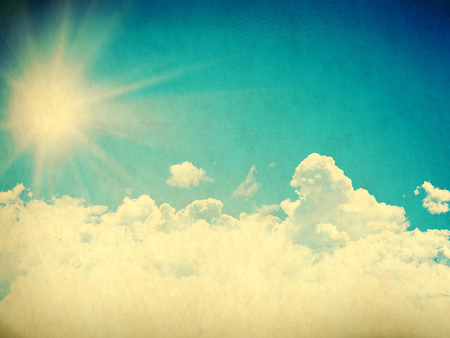 threadbare: Vintage background in the blue shade with clouds Stock Photo