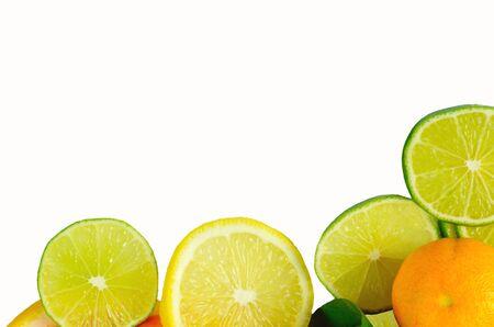 halved  half: Vitamin C Overload, Stacks of sliced fruit isolated on white