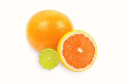 감귤류의 과일: citrus fruits on white 스톡 사진