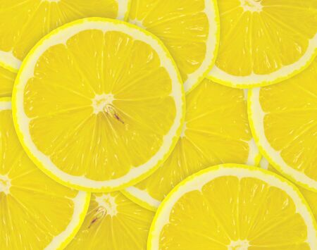 limon: Abstract background with citrus-fruit of lemon slices. Close-up Stock Photo