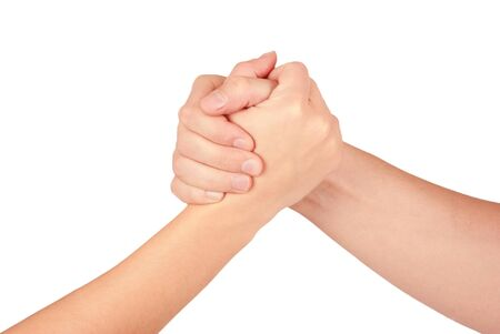 coupled: Two coupled hands, isolated on white background Stock Photo