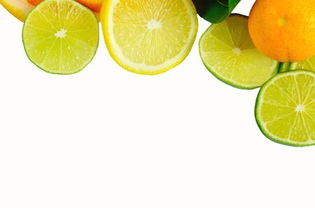 sliced fruit: Vitamin C Overload, Stacks of sliced fruit isolated on white