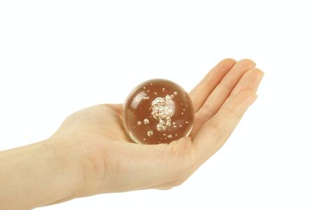 glass sphere: Hand holding a Crystal Ball for background