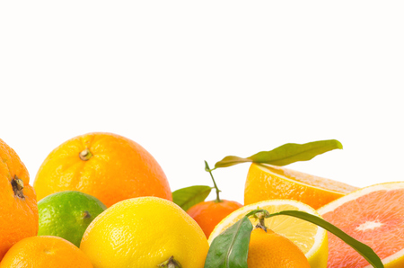 cumquat: Fruits citrus on white Stock Photo