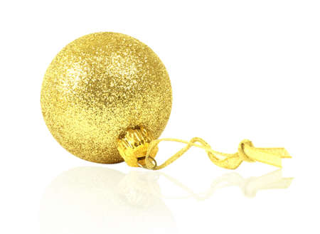dull: golden dull christmas ball isolated on white