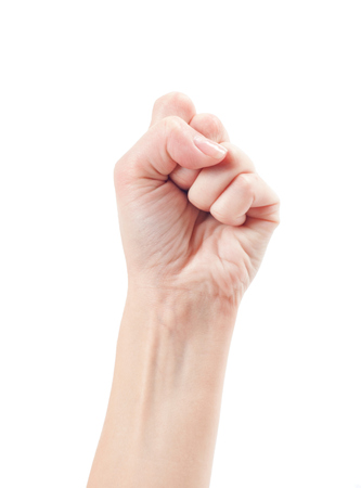 oneness: Fist. Gesture of the hand on white background. Stock Photo