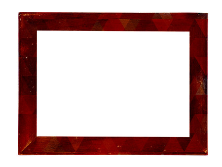 tableau: Vintage picture frame, wood plated, white background, clipping path included