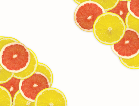 abstract food: Abstract background of citrus slices. Closeup. Studio photography. Stock Photo