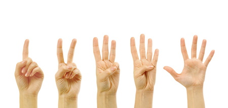 0 to 5: Counting woman hands (0 to 5) isolated on white background Stock Photo