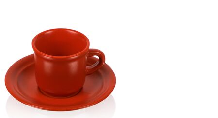 red cup: Red cup on a red saucer isolated on white background Stock Photo