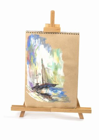 yacht isolated: painting a beautiful yacht, isolated on a white background