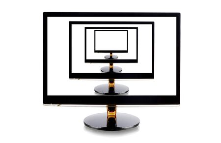 liquid crystal display: Computer monitors in monitor isolated on white