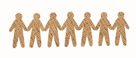 shaddow: team of burlap people on white background