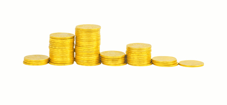 lustre: graph of the columns of coins isolated on white