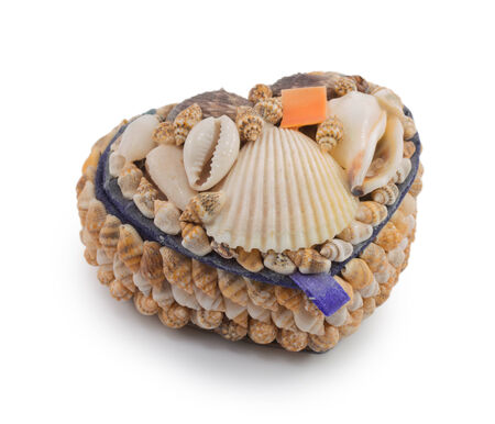 A box of  seashells isolated on a white background photo