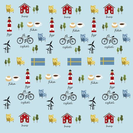 swedish symbols pattern in vector, red house, sweden flag, red lighthouse, chair, bicycle, coffee, windmills, trees Illustration